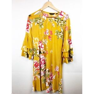 Mlle Gabrielle Mustard Yellow Floral dress. Large